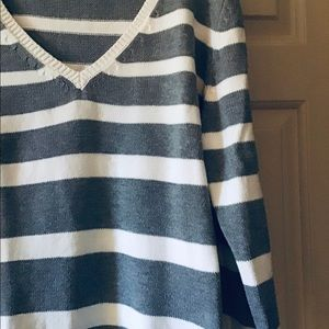 Gray & white striped sweater.